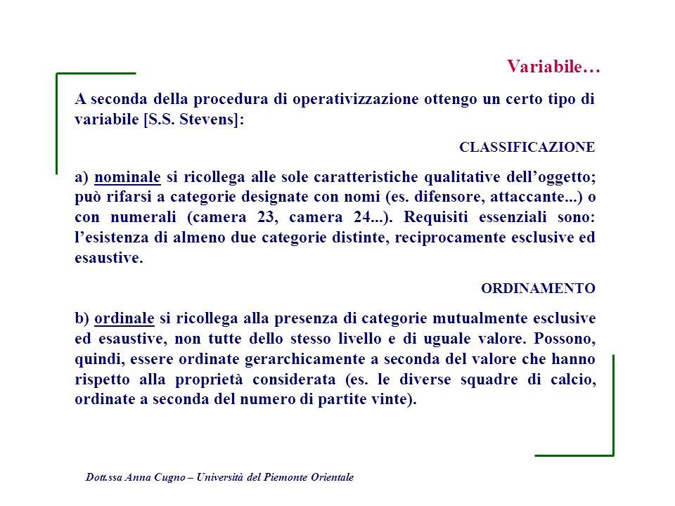 Variabile…A seconda della procedura di operativizzazione ottengo un certo tipo di variabile [S.S. Stevens]: